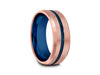 8MM BRUSHED ROSE GOLD TUNGSTEN WEDDING BAND BLUE CENTER AND BLUE INTERIOR