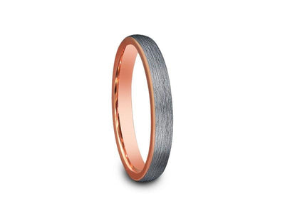 Rose Gold Tungsten Wedding Band - Brushed Polished - Engagement Ring - Two Tone - Dome Shaped - Comfort Fit  3mm - Vantani Wedding Bands