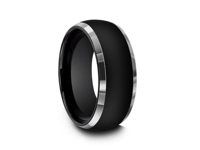 High Polish Black Tungsten Wedding Band - Two Tone - Engagement Ring - Dome Shaped - Comfort Fit  8mm - Vantani Wedding Bands