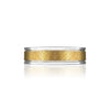 14K WHITE/YELLOW GOLD BRUSHED 6MM WEDDING BAND SIZE 10