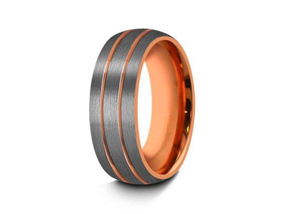 Rose Gold Tungsten Wedding Band - Brushed Polished - Engagement Ring - Two Tone - Dome Shaped - Comfort Fit  8mm - Vantani Wedding Bands