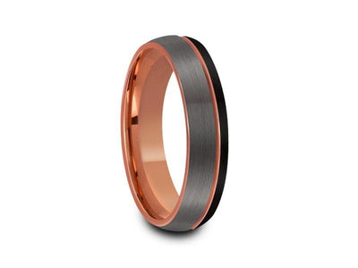 Rose Gold Tungsten Wedding Band - Brushed Polished - Engagement Ring - Three Tone - Dome Shaped - Comfort Fit  6mm - Vantani Wedding Bands