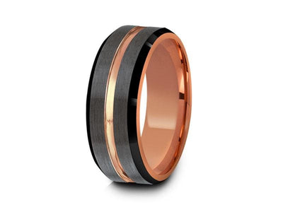 Rose Gold Tungsten Wedding Band - Brushed Polished - Engagement Ring - Three Tone - Beveled Shaped - Comfort Fit  8mm - Vantani Wedding Bands