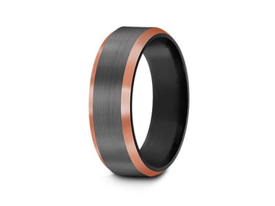 Brushed Tungsten Wedding Band - Gunmetal - Rose Gold Inlay - Engagement Ring - Beveled Shaped - Comfort Fit  6mm - Vantani Wedding Bands