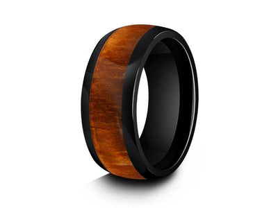 HAWAIIAN Koa Wood Inlay Black Ceramic Ring - Ceramic Wedding Band -5th.  Anniversary - Engagement Ring - Dome Shaped - Comfort Fit  8mm - Vantani Wedding Bands