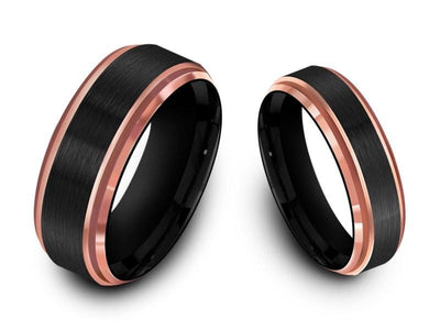 Tungsten Matching Wedding Band Set - Matching Bands - His/Hers - Engagement Ring Set - Two Tone Bands - Ridged Edges - Comfort Fit  6mm/8mm - Vantani Wedding Bands