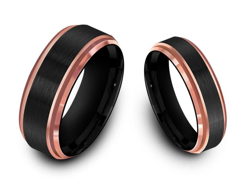 His And Hers Matching Wedding Bands | 6mm 8mm Brushed Black Tungsten Wedding Band Set Rose Gold Edges And