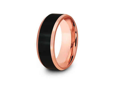 Black & Rose Gold Tungsten Wedding Band - Brushed Polished - Two Tone Ring - Engagement Band - Beveled Shaped - Comfort Fit  8mm - Vantani Wedding Bands