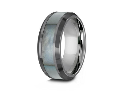 Mother of Pearl Inlay Tungsten Carbide Ring - Wedding Band - Engagement Ring - MOP Inlay - Beveled Shaped - Comfort Fit  8mm - Vantani Wedding Bands