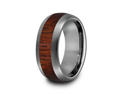 HAWAIIAN Koa Wood Inlay Tungsten Carbide Ring - Koa Wood Wedding Band - Engagement Ring - Dome Shaped - Comfort Fit  8mm - Vantani Wedding Bands