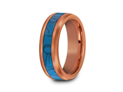 Rose Gold & Turquoise Tungsten Wedding Band - Turquoise Inlay - Engagement Ring - Two Tone - Beveled Shaped - Comfort Fit  6mm - Vantani Wedding Bands