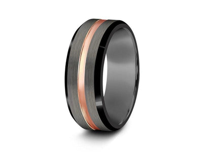 Brushed Tungsten Wedding Band - Rose Gold Plated Inlay - Engagement Ring - Beveled Shaped - Comfort Fit  8mm - Vantani Wedding Bands