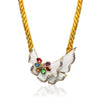 Yellow rope necklace with multicolor quartz