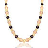 14K Yellow gold beaded necklace with amethyst and rose quartz