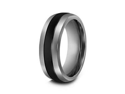 Tungsten Wedding Band With Black Ceramic Inlay - Engagement Ring - Dome Shaped - Comfort Fit  8mm - Vantani Wedding Bands
