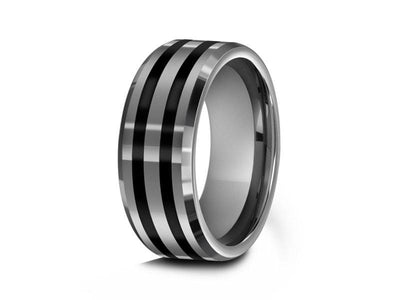 Tungsten Wedding Band With Black Enamel Lines - Gray Gunmetal - Engagement Ring - Two Tone Ring - Beveled Shaped - Comfort Fit  8mm - Vantani Wedding Bands