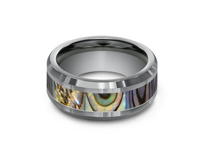 Abalone Shell Tungsten Carbide Wedding Band - Abalone Inlay Ring - Shell Ring - Engagement Band - Beveled Shaped - Comfort Fit  8mm - Vantani Wedding Bands