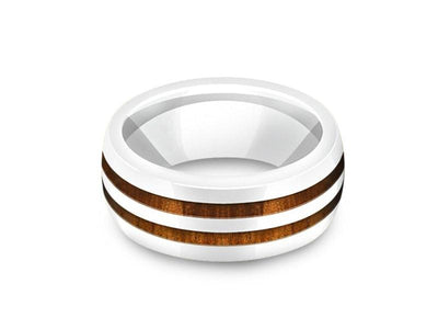 HAWAIIAN Koa Wood Inlay White Ceramic Ring - Ceramic Wedding Band - 5th. Anniversary - Dome Shaped - Engagement Ring - Comfort Fit  8mm - Vantani Wedding Bands