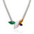 Turquoise blue rope necklace with multicolor quartz