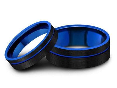 6mm 8mm Brushed Black Tungsten Wedding Band Set Flat And Blue