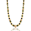 14K Yellow gold beaded necklace with jade and onyx