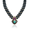 Hematite double strand necklace with mother of pearl