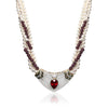Four strand pearl and garnet necklace