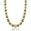 14K Yellow gold beaded necklace with jade and tiger eye