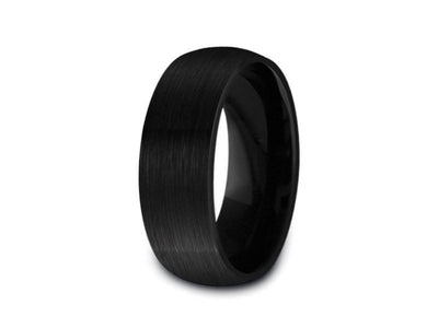 Brushed Black Tungsten Wedding Band - Engagement Ring -  Anniversary - Dome Shaped - Comfort Fit  8mm - Vantani Wedding Bands