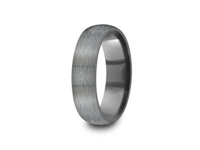Brushed Tungsten Wedding Band - Gray Gunmetal - Engagement Ring - Dome Shaped - Comfort Fit  6mm - Vantani Wedding Bands