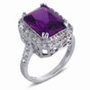 STERLING SILVER RING WITH PURPLE CORUNDUM