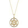 14K Yellow Gold Star Of David Chai Necklace