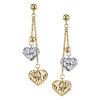 14K Two Tone Dangle Heart Earrings