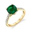 14K Yellow Gold Fashion Diamond And Emerald Ring