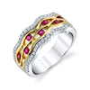 18K Two Tone Diamond And Ruby Fashion Ring