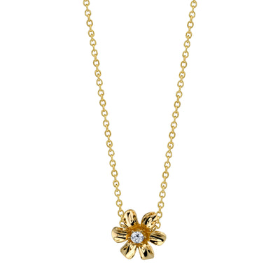 14K Yellow Gold Flower Necklace With Diamond