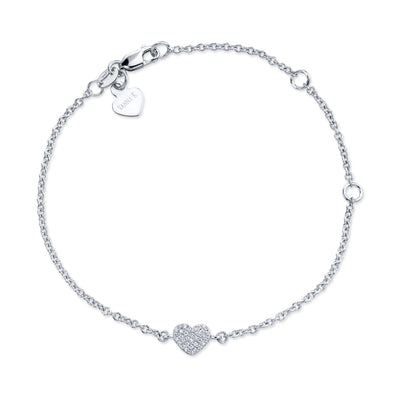 "14K White Gold Pave Diamond Heart Adjustable Bracelet 5"", 6"" Or 7"""
