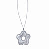 STERLING SILVER PENDANT FLOWER NECKLACE WITH CZ STONES