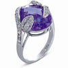 STERLING SILVER RING WITH LAVENDER CRYSTAL AND CZ STONES