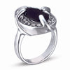 STERLING SILVER RING WITH BLACK AND CLEAR CZ STONES