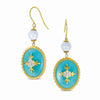 STERLING SILVER GOLD PLATED EARRINGS WITH LIGHT GREEN AND WHITE RESIN