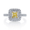 18K YELLOW DIAMOND DOUBLE HALO ENGAGEMENT RING