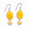 STERLING SILVER DANGLE EARRINGS WITH YELLOW AGATE AND PEARLS