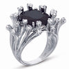 STERLING SILVER RING WITH BLACK CENTER CZ STONE