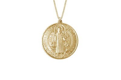14K Yellow Gold 12mm Round St. Benedict Medal