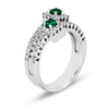 14K White Gold Fashion Ring With Diamonds And Emeralds