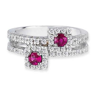 14K White Gold Fashion Ring With Diamonds And Ruby's