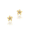 14K Yellow gold flower stud earrings with center cz
