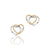 14K Two tone double heart earrings with diamonds