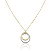 14K Two tone double circle pendant necklace